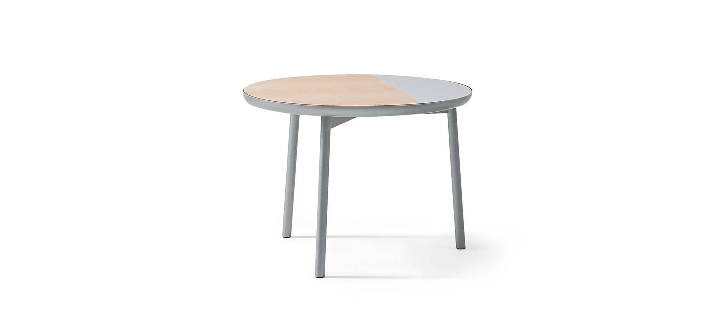 Chord Side Table - Silver Metallic Gloss, Ash, Forbo
