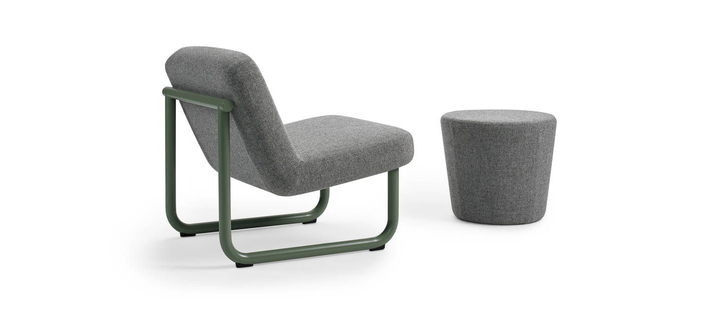 Chroma Ottoman and Armless Lounge - Sage Green Matte