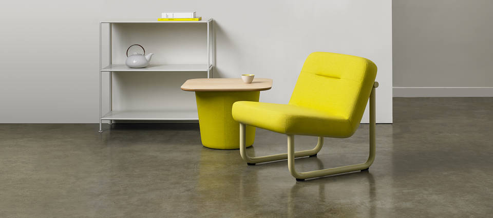 Chroma Collection - Lounge Armless, Low Table - Yellow Leaf Gloss